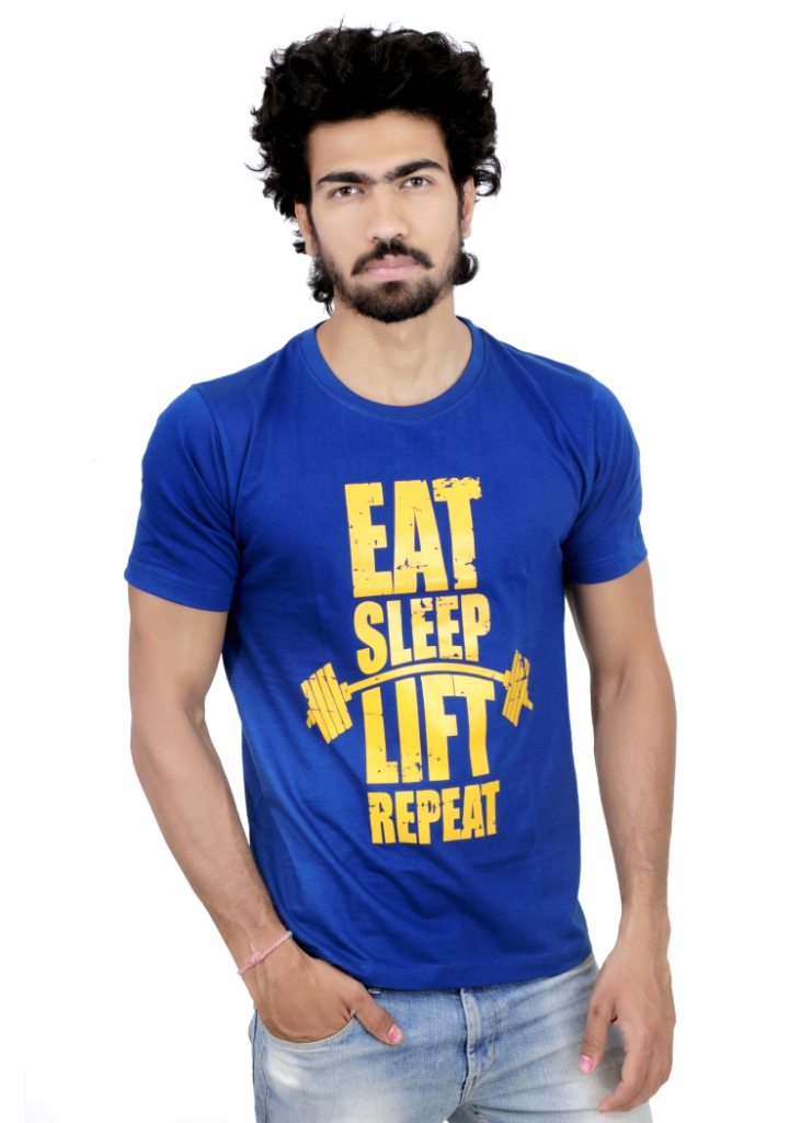 Buy b2zone printed gym t shirt 399 blue gym for Gym t shirts india